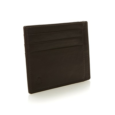 BENETTON Porte-cartes en cuir - marron