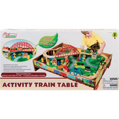 FIRST LEARNING Table circuit de train en bois - multicolore