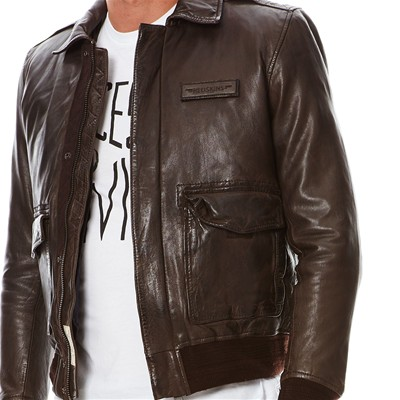 REDSKINS Maverick - Blouson aviateur en cuir - marron