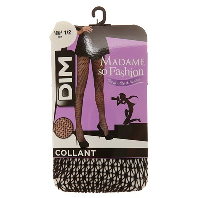 DIM COLLANT Madame so Fashion - Collant résille structurée - noir