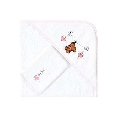 Ifilhome Ourson - ensemble cape de bain et gant de toilette - rose