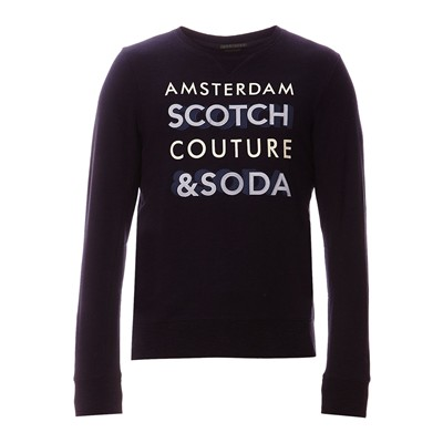 SCOTCH & SODA Sweat-shirt en coton mélangé - bleu marine