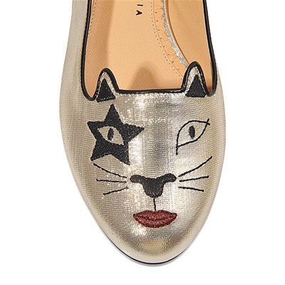 CHARLOTTE OLYMPIA Kiss Kitty - Ballerines en cuir - argent