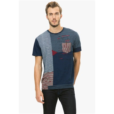 DESIGUAL J-Stripes - T-shirt - noir
