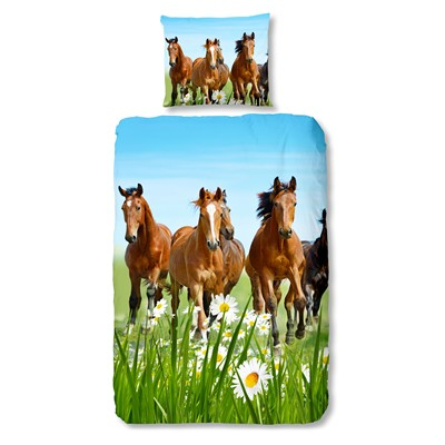 Goodmorning Horses - Conjunto de cama - multicolor