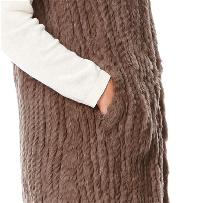 OAKWOOD Gilet en fourrure de lapin - marron clair
