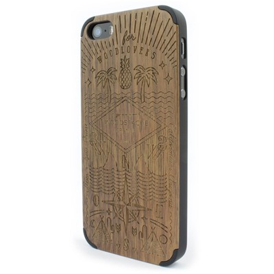 WOODSTACHE Coque pour iPhone 5-5S et SE Story - marron