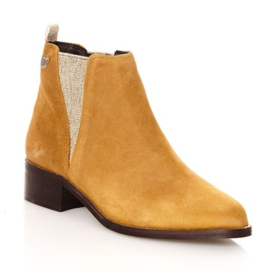 Ytiag - Bottines pailletées en cuir suédé - moutarde