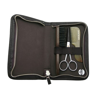 Trousse moustache-barbe - marron