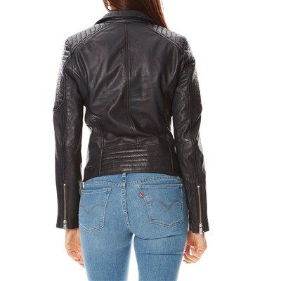 Way Pelle Biker Usual Blu Giacca Scuro In Alicia Stile TnqdO