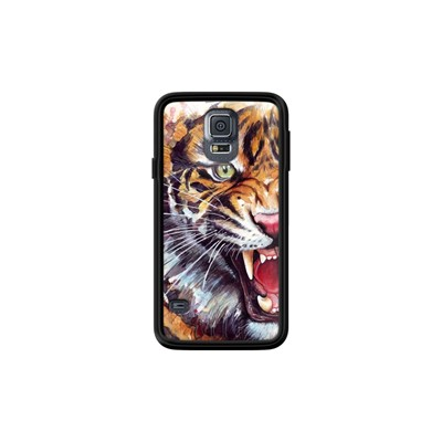 The Kase angry tiger watercolor - coque pour samsung galaxy s5 - noir