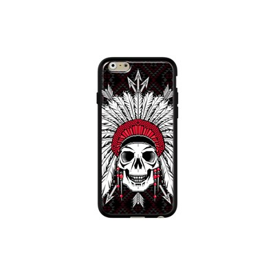 Geometric Indian Skull - Coque pour iPhone 6/6S - noir