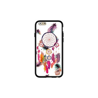Hipster Watercolor Dreamcatcher Feathers Patter - Coque pour iPhone 6/6S - noir