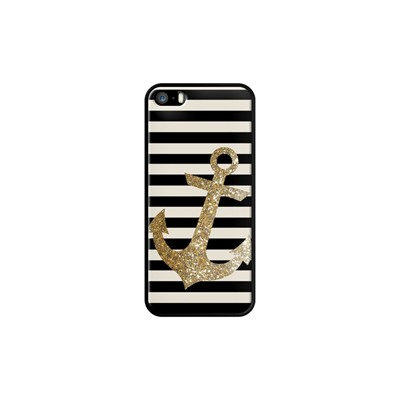 Glitter Anchor in Gold and Black - Coque pour iPhone 5/5S/SE - noir