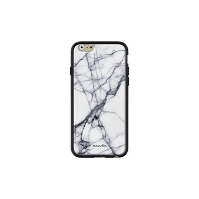 Cracked white Marble - Coque pour iPhone 6/6S - noir