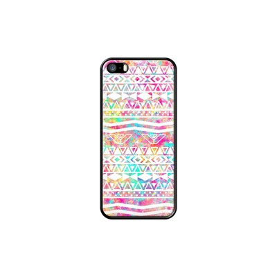 Tribal Abstract Aztec Neon Rainbo - Coque pour iPhone 5/5S/SE - noir