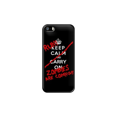 Keep calm and run zombies - Coque pour iPhone 5/5S/SE - noir