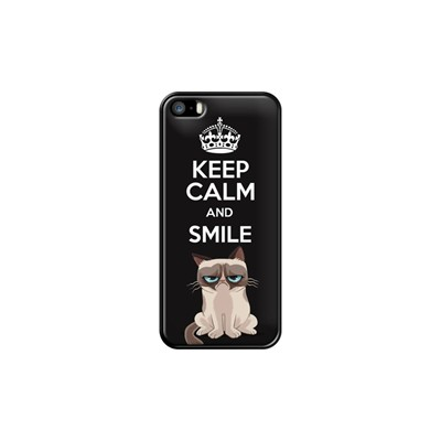 Keep calm and smile - Coque pour iPhone 5/5S/SE - noir