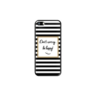 Don't worry be happy - Coque pour iPhone 5/5S/SE - noir