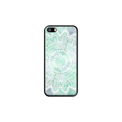 Bohemian Flower Mandala in white and Teal - Coque pour iPhone 5/5S/SE - noir