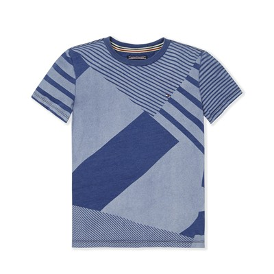 Mix stripe CN - T-shirt - bleu brut