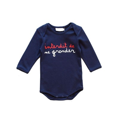 Interdit de me gronder petit english - body bébé - bleu