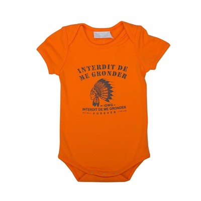 Interdit de me gronder petit indien - body bébé - orange