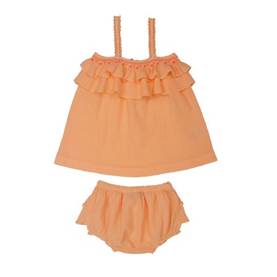 Flory - Ensemble top et bloomer - corail