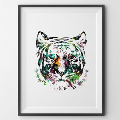 Lion color - Affiche - blanc