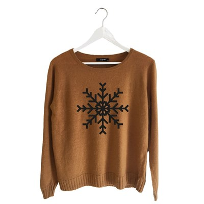 Flocon - Pull - marron clair