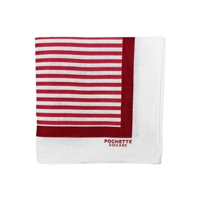 Comic Stripe - Pochette de costume en lin - rouge