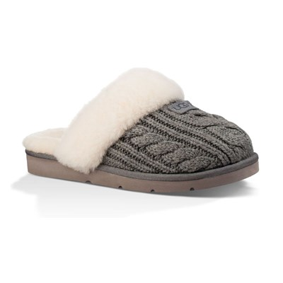 Cozy Knit Cable - Chaussons fourrés - gris
