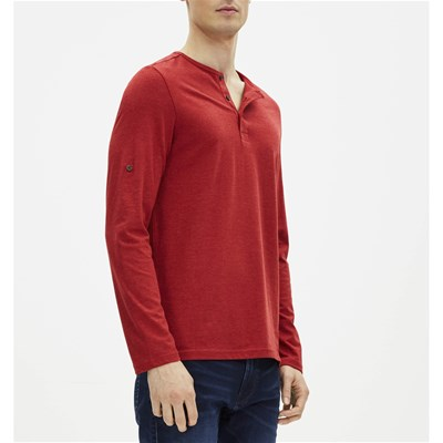 Henley - T-shirt manches longues - rouge