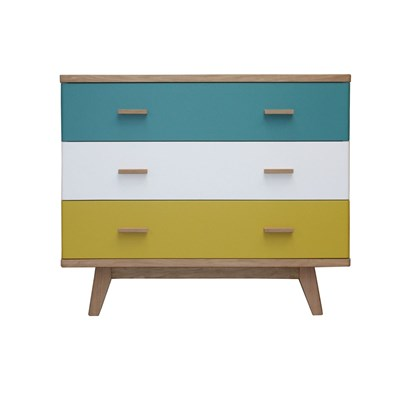 Commode 3 tiroirs en chêne massif - multicolore