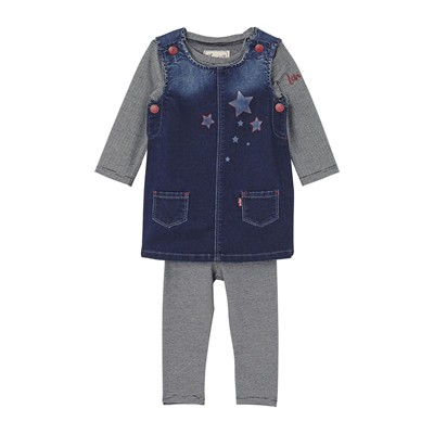 Fleecy - Ensemble robe, legging et t-shirt - denim bleu
