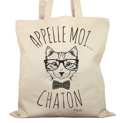 Artecita Appelle moi chaton - sac shopping - ecru