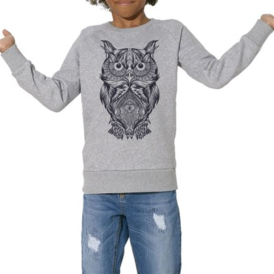 Chouette - Sweat Bio enfant - gris chine