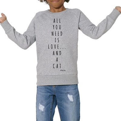 Love and a cat - Sweat Bio enfant - gris chine