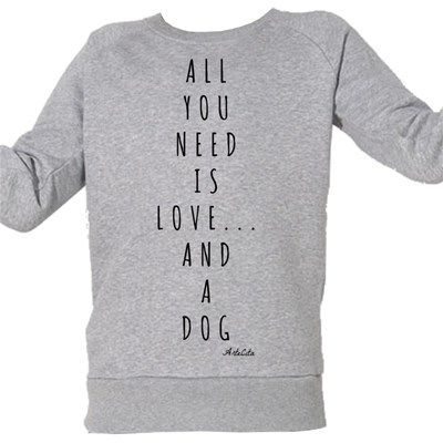 Artecita Love and a dog - sweat bio enfant - gris chine