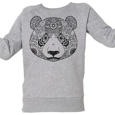 Panda Ethnik - Sweat Bio enfant - gris chine
