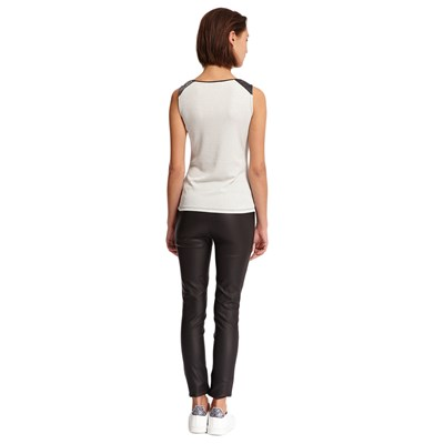 Top en maille stretch brillante - gris