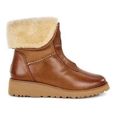 Caleigh - Bottines fourées en cuir - camel