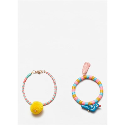 Mango kids girls/Pack bracelets en perles de bois - multicolore