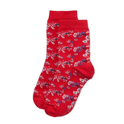 Chaussettes fille fleuries - rouge