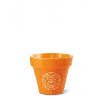 Bougie pot de fleur - orange