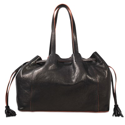 Simple 2 Bis - Sac cabas en cuir - noir
