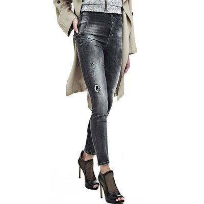 Jean skinny taille haute - gris