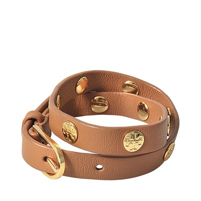 Bracelet double-tours clouté en cuir - marron