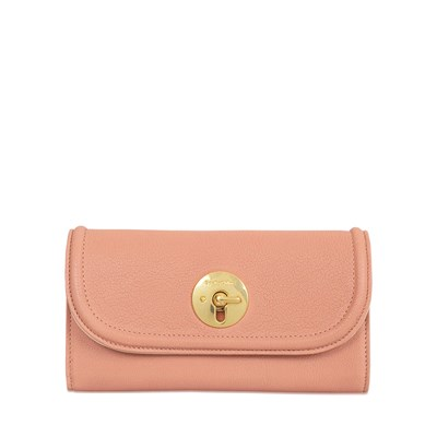 Lois - Long portefeuille en cuir - rose