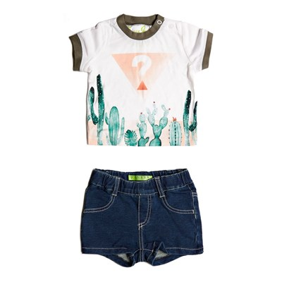 Ensemble tee-shirt et short - blanc